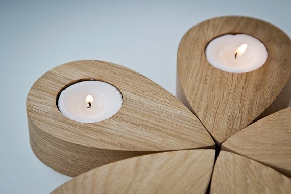 Candle holder - Droplets of a flower - salvaged ash tree droplets shaped articles which you can use to create any shape - Slab Homewares