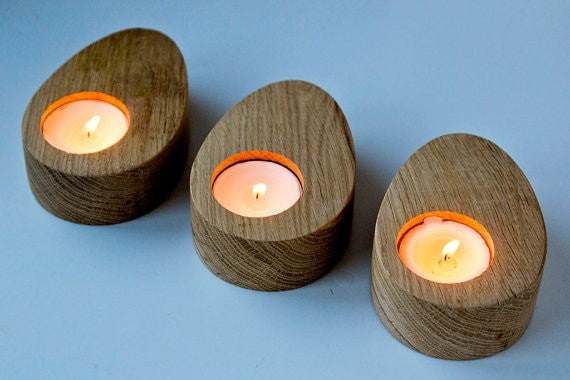 Candle holders // A set of Three - Droplets of wood -  Modern Home Decor // Housewarming gift // Christmas gift // FREE SHIPPING - Slab Homewares