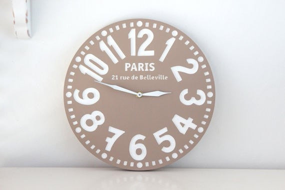 Pseudo Vintage Wooden Clock Handmade // Housewarming /graduation gift // pastel brown  // Great for Shabby Chic Room Decor / FREE SHIPPING - Slab Homewares