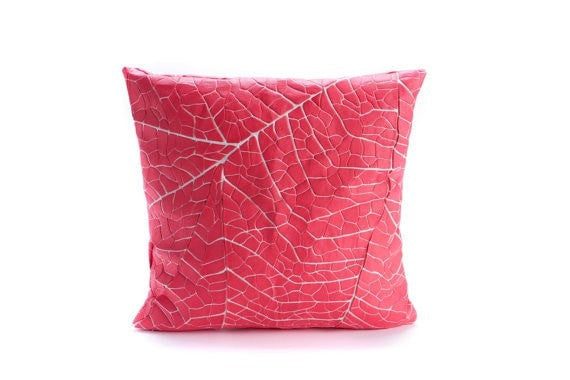"Vein, Coral Pink Decorative Throw Pillow Cover 19.6x19.6"" - 50x50cm."