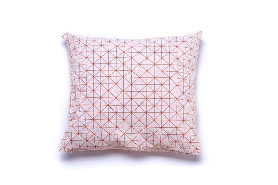 Geo pillow, White and orange 50x50cm