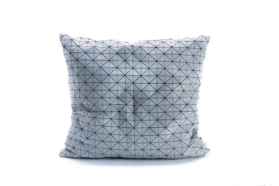 GEO Pillow XXL Black and white origami geometric pillow cover 63x63 cm,