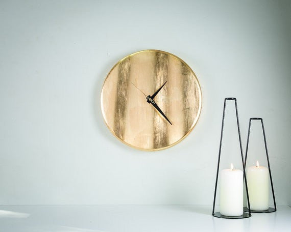Wall clock Golden wave. Hand gilded by thin yellow metal leaves. NOT gold. - Slab Homewares