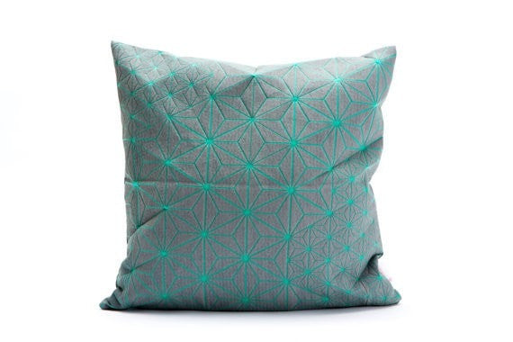 "Tamara pillow, Turquoise & grey designer throw pillow cover 15.7x15.7""."
