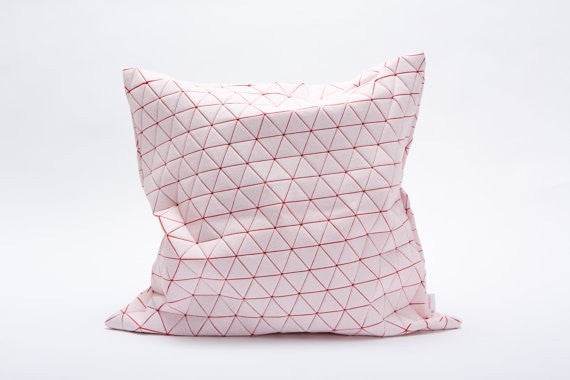 "Ilay pillow, White and red designer throw pillow cover 19.5x19.5""  50x50cm."