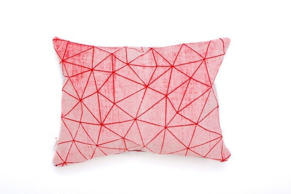 White and Red geometric pillow cover