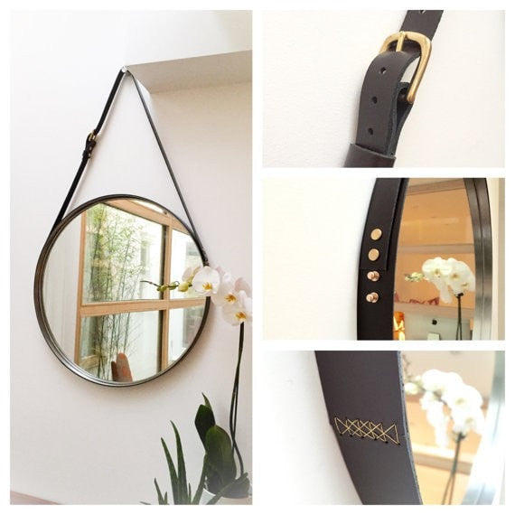 "NOBILE - 24"" Leather Strapped Round Circular Mirror - Slab Homewares"