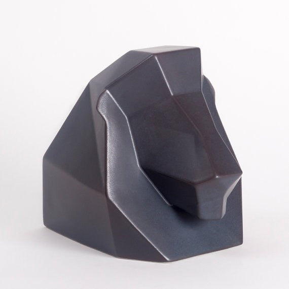 Leo Ceramic Sculpture, Lewis the Lion in Charcoal Ceramic, Black - Slab Homewares