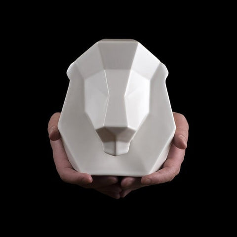Leo Animal Sculpture, Lewis the Lion in White Ceramic - Slab Homewares