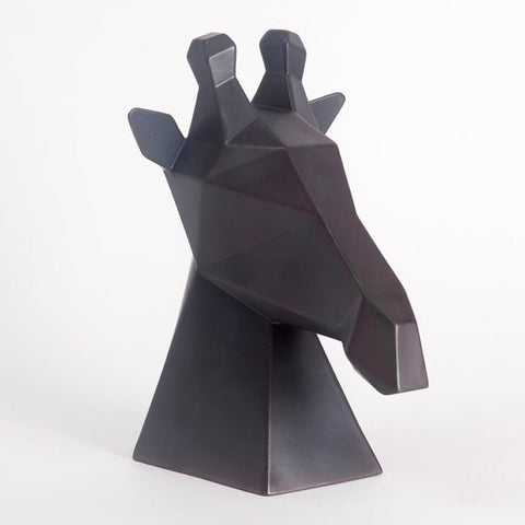 Ceramic Giraffe Sculpture, Gerard the Giraffe in Charcoal, Black - Slab Homewares