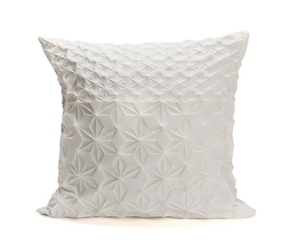 Amit pillow, Cream floral pillow cover, 60x60 cm / 23.6x23.6 inch