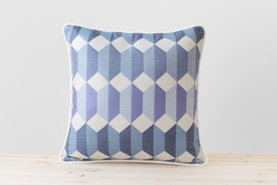 Geometric Pillow Cover in Blue, Navy, Denim, Violet and Ivory, Scandinavian Pillows Blue Cushion With Piping Modern Blue Throw Pillows - Slab Homewares