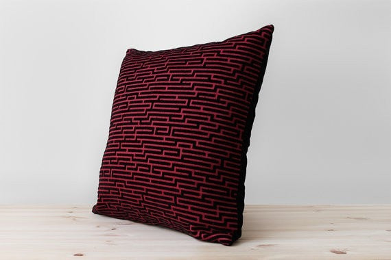 Black and Red Geometric Velvet Pillow Modern Cushion Cover Contemporary Designer Decorative Throw Pillows Labyrinth Maze Pillow All Sizes - Slab Homewares