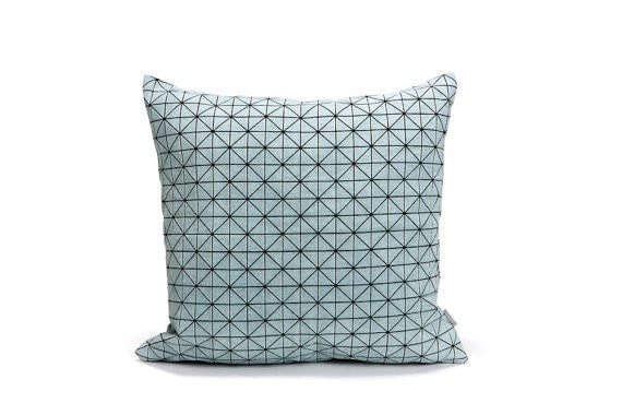 Geo pillow, Gray and Black origami geometric pillow cover 50x50 cm