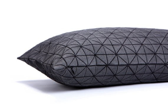 Geo pillow, Black origami pillow, decorative removable cover 50x50cm