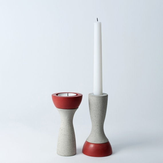 Reversible Candle Holder, Ela-05 in Saffron, fits Tea Light and Taper Candles - Slab Homewares