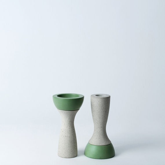Reversible Candle Holder, Ela-05 in Moss,  fits Tea Light and Taper Candles - Slab Homewares