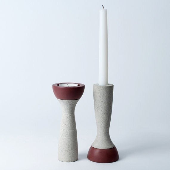 Reversible Candle Holder, Ela-06 in Plum, fits Tea Light and Taper Candles - Slab Homewares