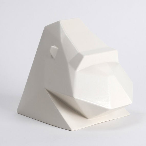 Animal Ceramic Head, Grayson the Gorilla in White Ceramic - Slab Homewares