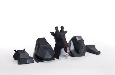 Ceramic Sculpture, Project Safari Collection in Charcoal, Black - Slab Homewares