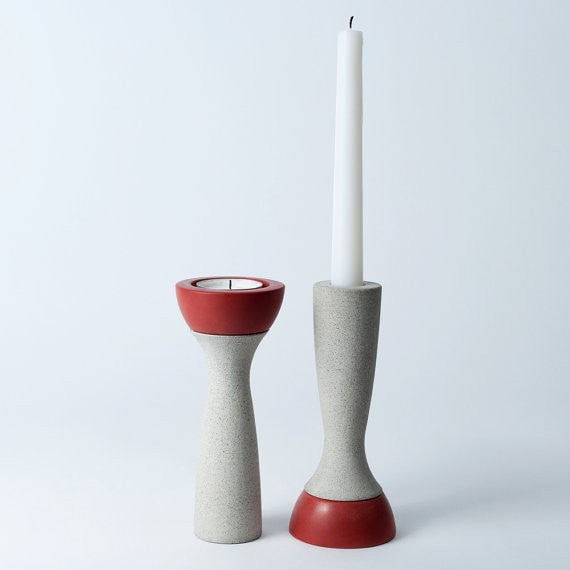 Reversible Candle Holder, Ela-06 in Saffron, fits Tea Light and Taper Candles - Slab Homewares