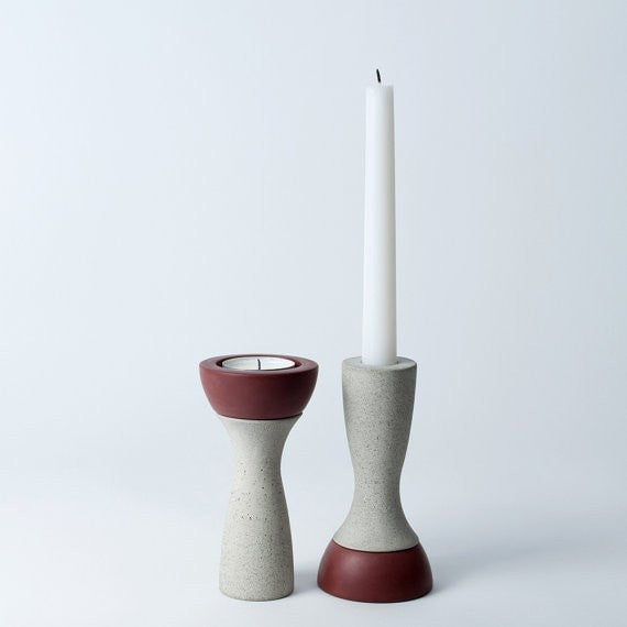 Reversible Candle Holder, Ela-05 in Plum,  fits Tea Light and Taper Candles - Slab Homewares
