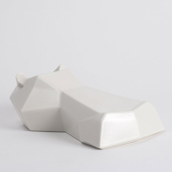 Hippo Ceramic Sculpture, Hamilton the Hippo in White - Slab Homewares