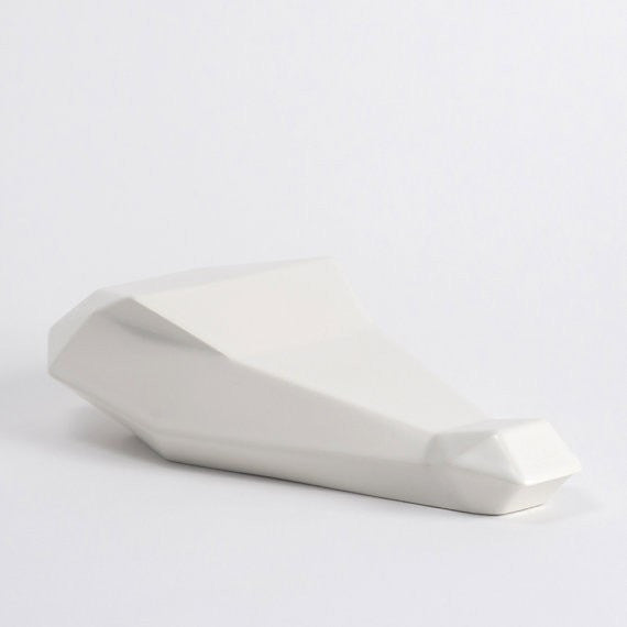 White Ceramic Sculpture,  Calvin the Crocodile in Ceramic - Slab Homewares