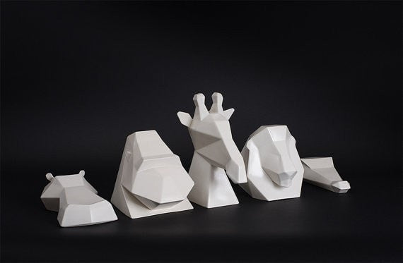 Ceramic Sculpture, Project Safari Collection in White - Slab Homewares