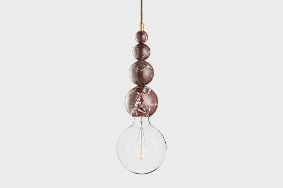 Marble pendant lamp | LATITUDE Slipp red - Slab Homewares