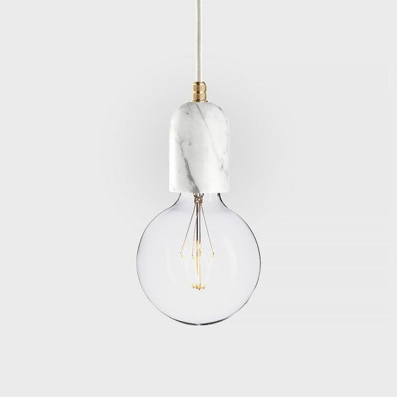 Marble pendant lamp | LATITUDE Bjort white - Slab Homewares