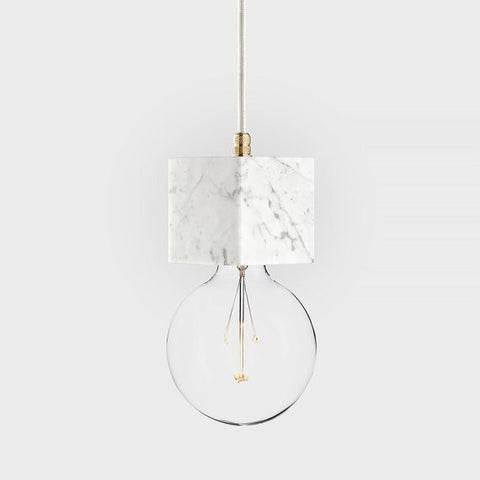 Marble pendant lamp | LATITUDE Veldi white - Slab Homewares