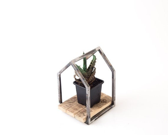 Wire frame raw metal Plant pot holder stand Candle holder Lantern House - Slab Homewares