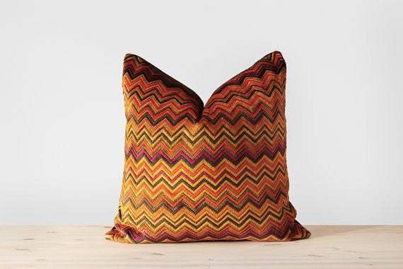 Chevron Velvet Pillow Cover in Yellow, Purple, Orange and Black - Colorful Cushion Chevron Throw Pillow Modern Home Decor 16x16 18x18 - Slab Homewares