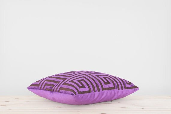 Purple Geometric Velvet Pillow Cover Purple Cushion Meander Greek Key Throw Pillow Labyrinth Pattern Purple and Brown Pillow 18x18 20x20 - Slab Homewares