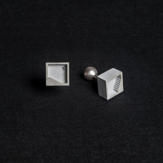 Micro Concrete Cuff Links #3 - ELEMENTS Collection