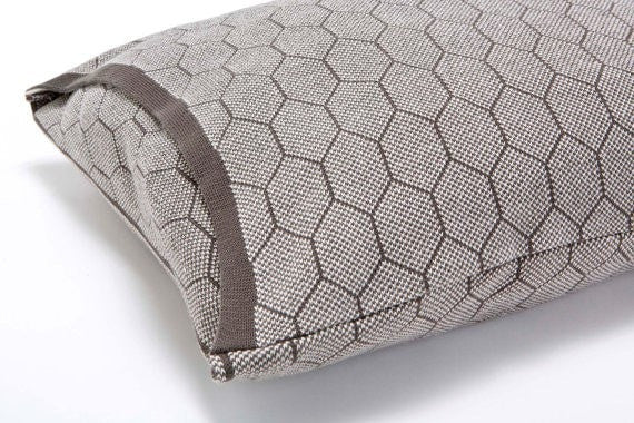 Hive cushion, Grey and white soft pillow cover 55x45 cm/ 22x18 inch,