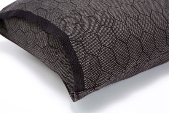 Hive cushion, Olive and black soft pillow cover 55x45 cm/ 22x18""