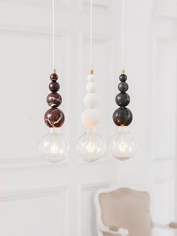 Marble pendant lamp | LATITUDE Slipp Black - Slab Homewares