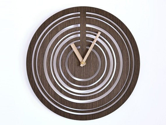 Modern wall clock 30cm | Wooden wall clock |  geometric clock | laser cut wall clock | veneer wall clock| wenge wall clock | decorative clock | - Slab Homewares
