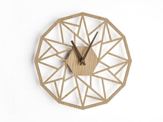 oversized wall clock 30 cm - 12 in | modern wooden clock | geometric clock | laser cut wall clock | wenge wall clock | decorative clock | - Slab Homewares