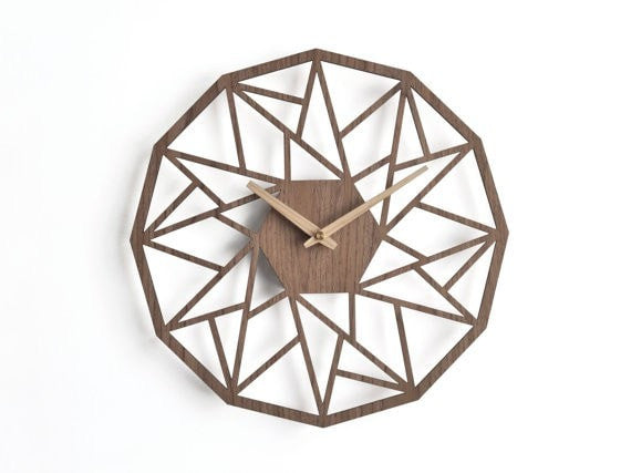 Modern wooden clock 30 cm - 12 in |  geometric clock | laser cut wall clock | veneer wall clock | walnut wall clock | decorative clock - Slab Homewares