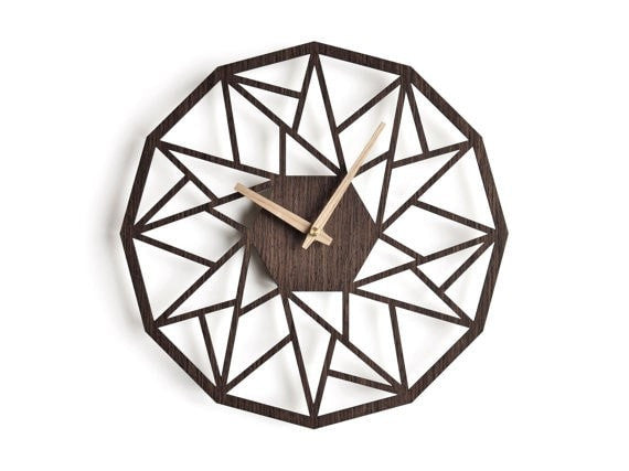 Modern wall clock 20in - 50 cm wenge - Slab Homewares