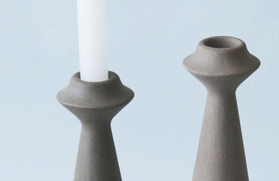 Shabbat Candlesticks, Tea light candle holder, taper candle holder, Ceramic Candleholders, candle holder for wedding, Modular Candle Holder - Slab Homewares