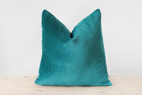 Blue Green Pillow Cover Teal Velvet Cushion Solid Teal Throw Pillows Teal Lumbar Pillow Modern Home Decor 18x18 20x20 22x22 - Slab Homewares