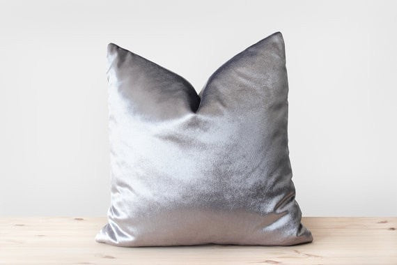 Silver Velvet Pillow Cover Solid Silver Cushion Shiny Silver Velvet Throw Pillow Metallic Velvet Pillowcases  16x16 18x18 20x20 22x22 24x24 - Slab Homewares