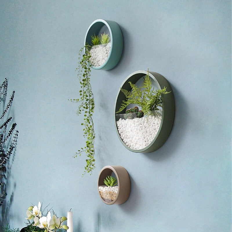 Colourful Round Iron Art Plant Wall Vase