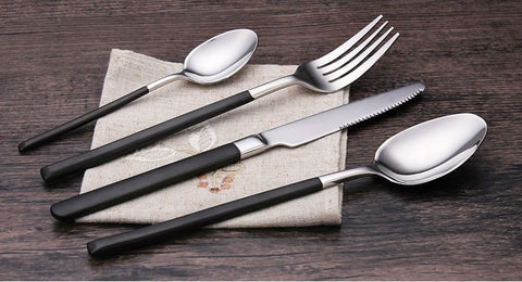 4Pcs/set Luxury Cutlery Set Stainless Steel Black Flatware - Slab Homewares
