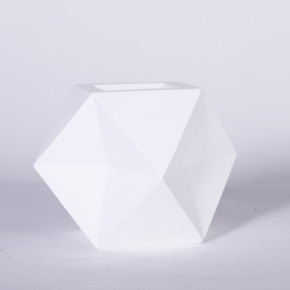 White Black Modern Irregular Tabletop Resin Flower Planter Pot - Slab Homewares