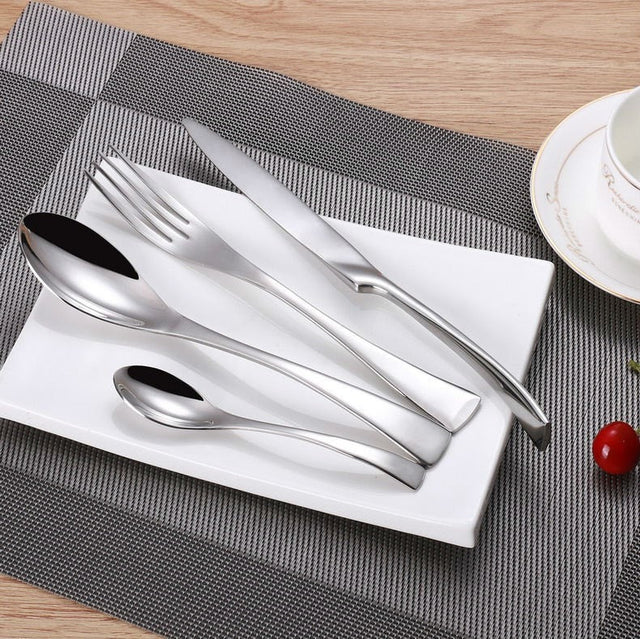 4Pcs/set Silver Cutlery Set Stainless Steel Flatware - Slab Homewares